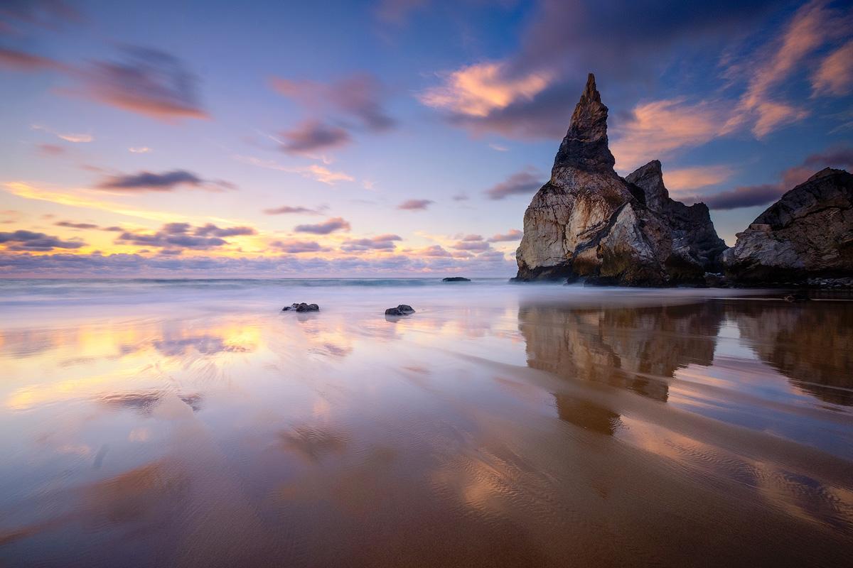 "Reflections in the wet sand at Praia da Ursa Fuji X-T1 . Fuji XF10-24mmF4 @ 10mm . f/16 . 10"" . ISO 200"