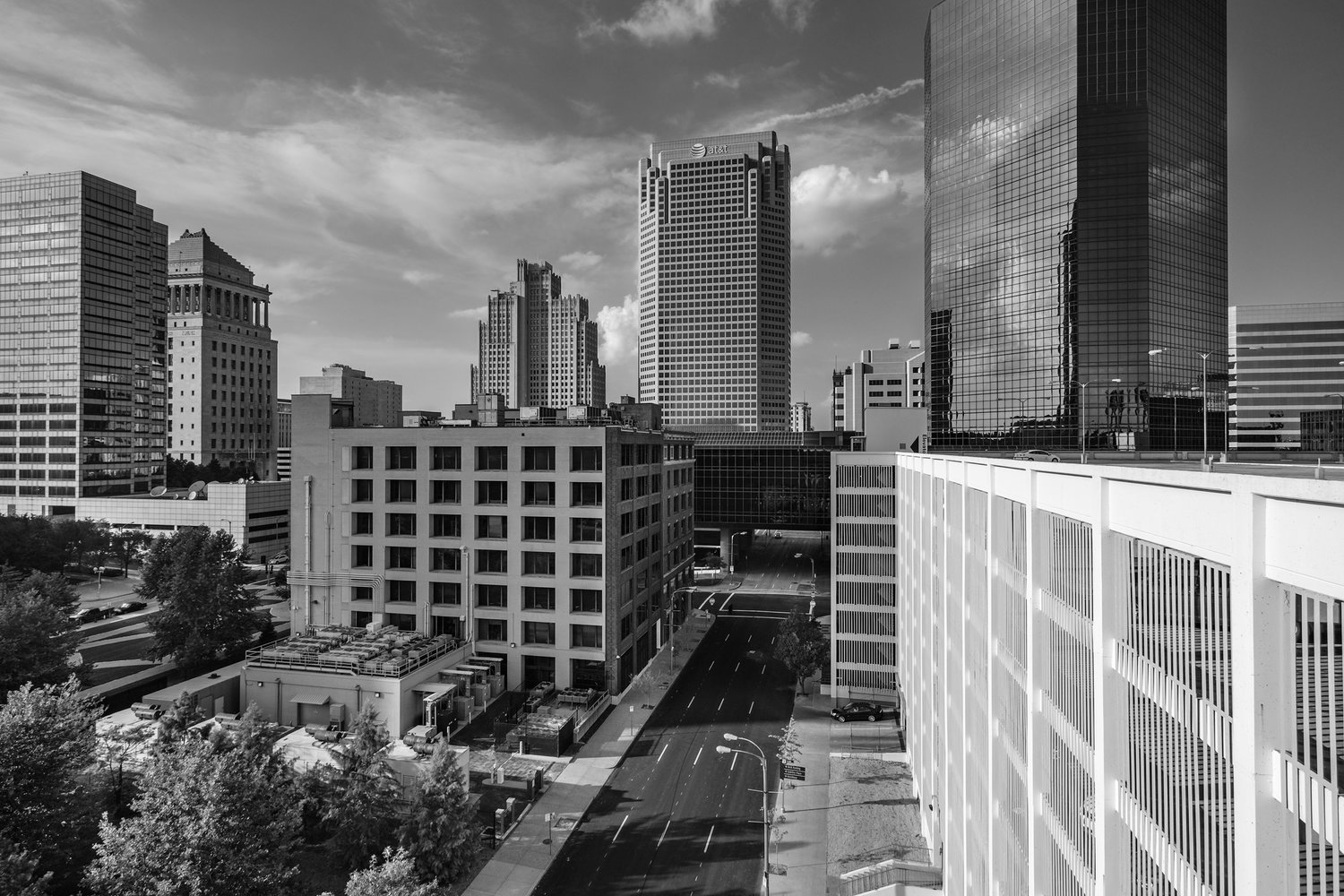 Skyline • Downtown St. Louis, Missouri. Fuji X-Pro 2 and a Fujinon XF16-55mm f2.8 R at 16mm. Image exposed at ISO 200 at f11 for 1/250 of a second.
