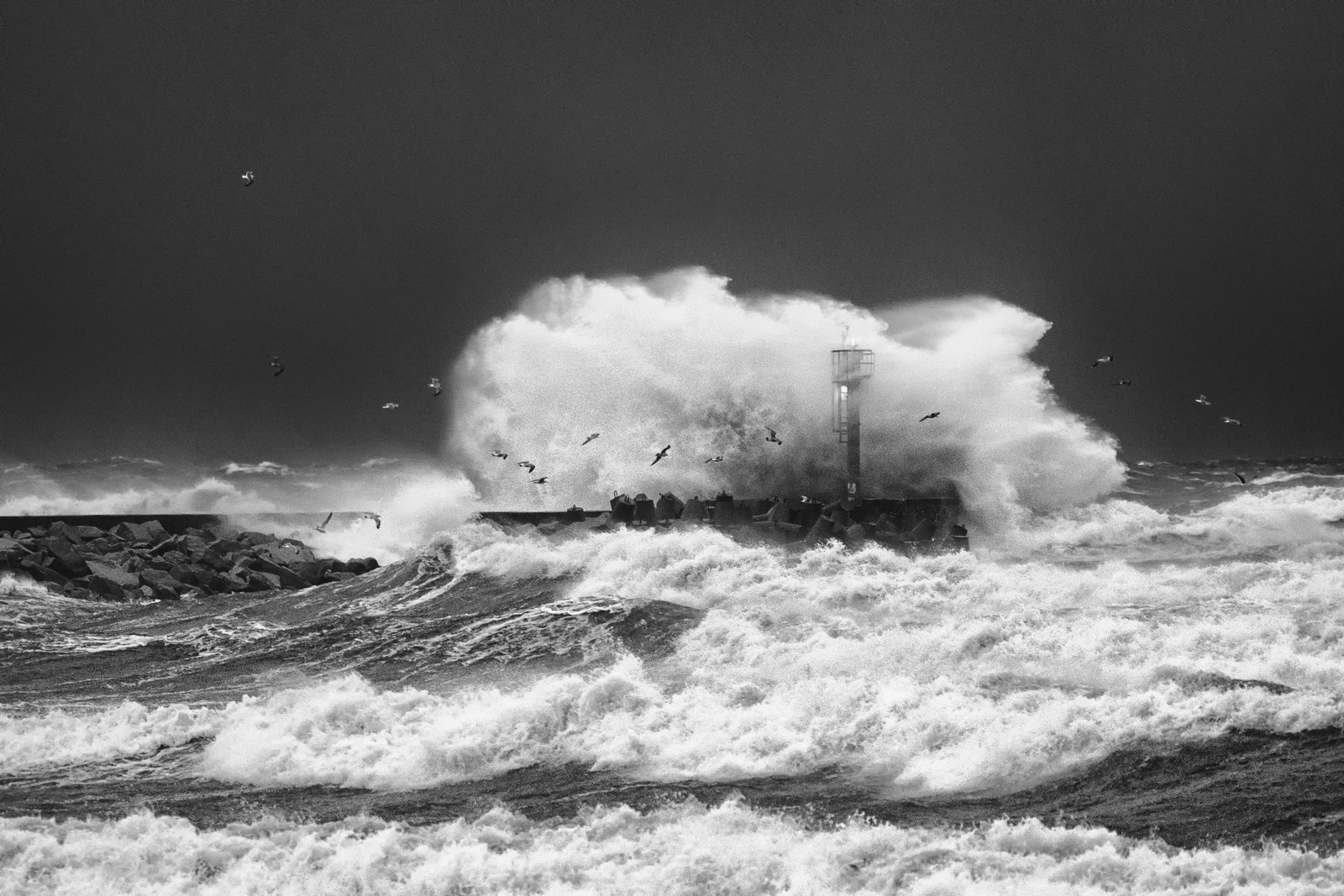 """Barbara"" was only a prelude – At the beginning of January 2017 Low Front ""Alex"" was making havoc. Strong North wind was pushing a lot of water inside the harbours causing loss. Waves were more than 5 meters. Fuji XPro-2, XF 50-140, 1/125s, f4, ISO 4000"